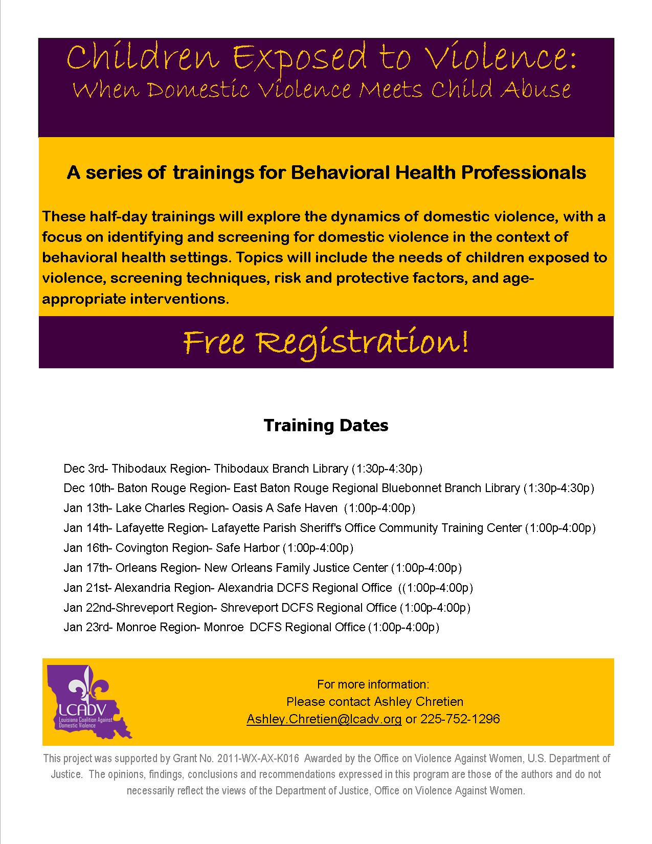 Behavioral Health-CEV flyer