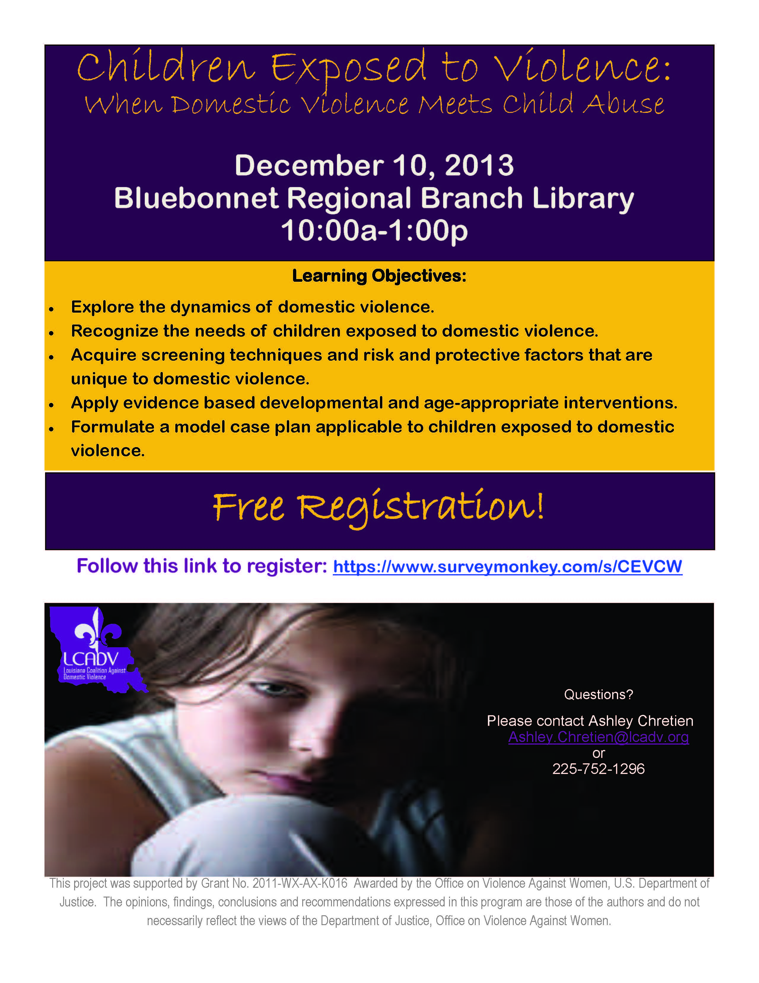 Children Exposed to Violence: When Domestic Violence Meets Child Abuse @ Bluebonnet Branch Library | Baton Rouge | Louisiana | United States