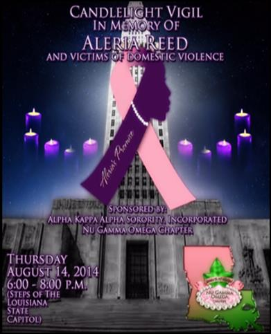 Candlelight Vigil for Aleria Reed and Victims of Domestic Violence @ Louisiana State Capitol Steps | Baton Rouge | Louisiana | United States