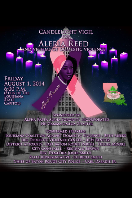 Candlelight Vigil for Aleria Reed and Victims of Domestic Violence @ Louisiana State Capitol